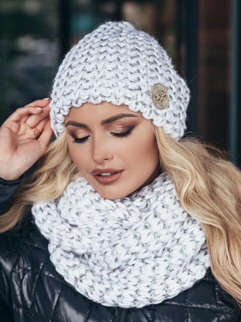 Комплект из шапки и снуда с контрастной нитью серебрянный - 15543, фото 1 – интернет-магазин Dressa