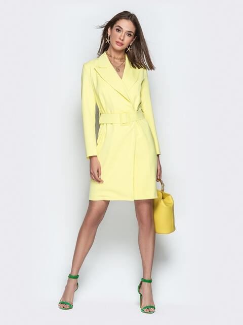 Лимонное платье-пиджак с широким поясом - 21268, фото 1 – интернет-магазин Dressa
