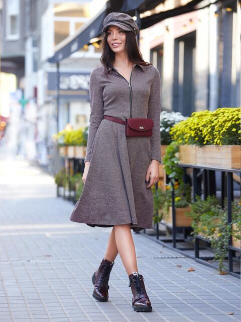 Платье бежевого цвета с молнией на полочке - 17547, фото 1 – интернет-магазин Dressa