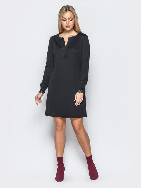 Платье черного цвета с кружевом на полочке и рукавах - 17587, фото 1 – интернет-магазин Dressa