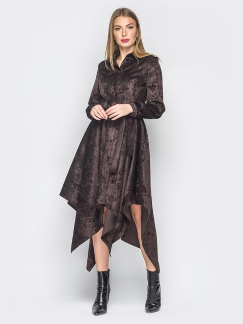 Платье-рубашка коричневого цвета с ассиметричным низом - 18770, фото 1 – интернет-магазин Dressa