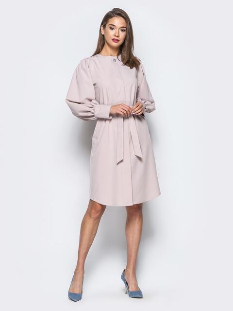 Пудровое платье с объемными рукавами и супатной застежкой - 16602, фото 1 – интернет-магазин Dressa