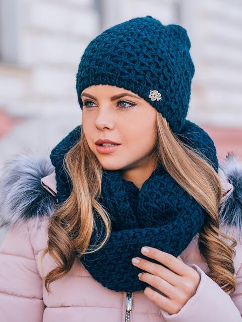 Тёмно-синие шапка и хомут с плотным узором - 14867, фото 1 – интернет-магазин Dressa