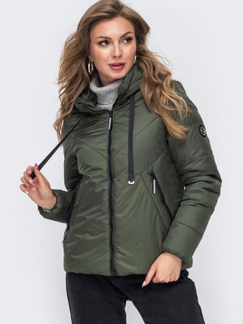 Укороченная куртка со вшитым капюшоном хаки 50413, фото 1
