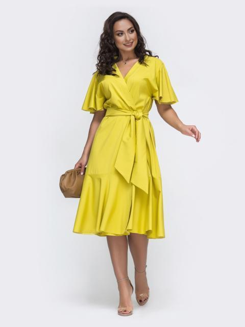 Желтое платье батал на запах с воланом по низу 49952, фото 1