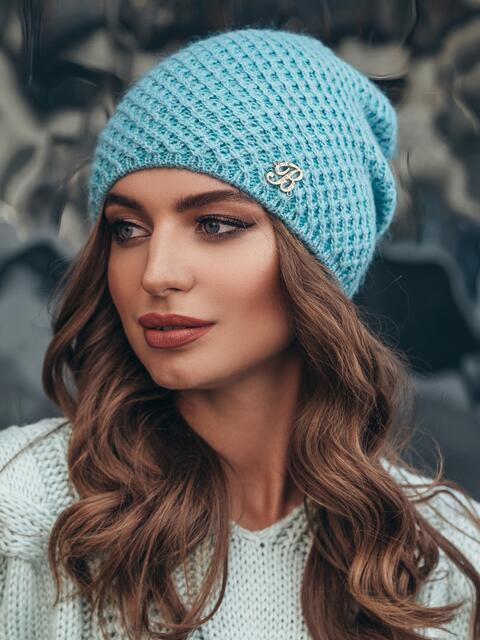 Бирюзовая шапка-колпак с итальянской нитью - 15391, фото 2 – интернет-магазин Dressa