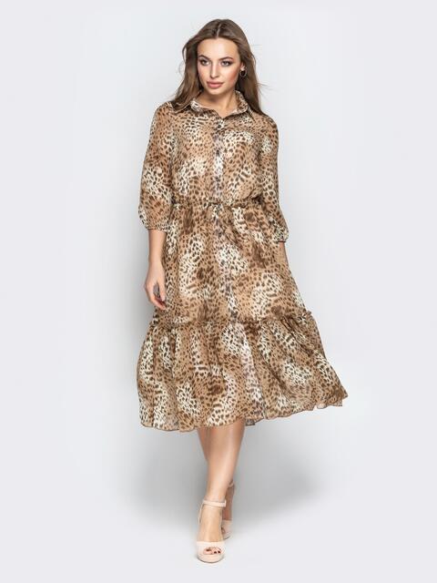 Леопардовое платье-рубашка с воланом по низу - 21099, фото 1 – интернет-магазин Dressa