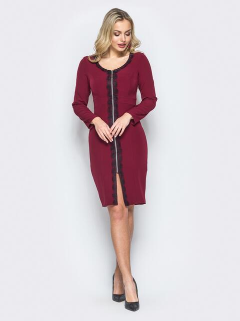 Платье-футляр бордового цвета с функциональной молнией - 17784, фото 1 – интернет-магазин Dressa