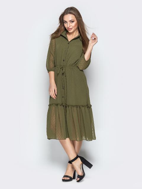 Платье-рубашка цвета хаки с воланом по низу - 21100, фото 1 – интернет-магазин Dressa