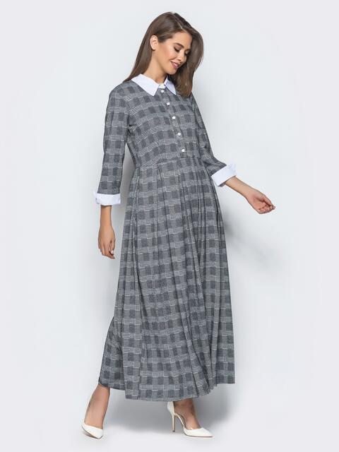 Платье-рубашка в тёмно-серую клетку с расклешенной юбкой - 15718, фото 1 – интернет-магазин Dressa
