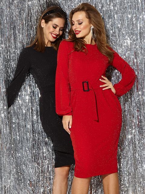 Платье с нитью люрекса и разрезом сзади красное - 42762, фото 1 – интернет-магазин Dressa