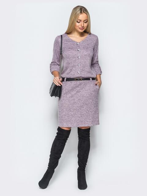 Платье серого цвета из ангоры с заниженноой талией - 17294, фото 1 – интернет-магазин Dressa
