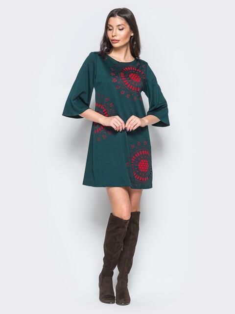 Платье зелёного цвета с перфорацией на полочке - 17662, фото 1 – интернет-магазин Dressa