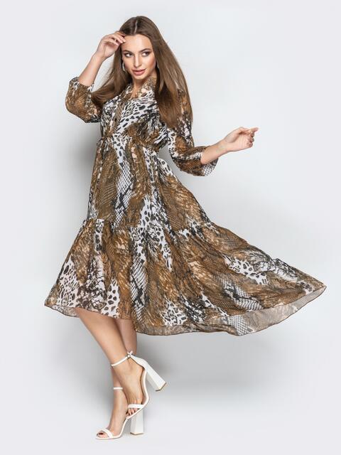 Принтованное платье с завышенной талией и асимметричным низом - 21097, фото 1 – интернет-магазин Dressa