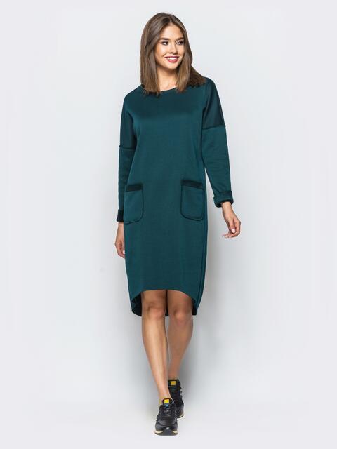 Теплое платье в спортивном стиле с необработанными краями зеленое - 16938, фото 1 – интернет-магазин Dressa