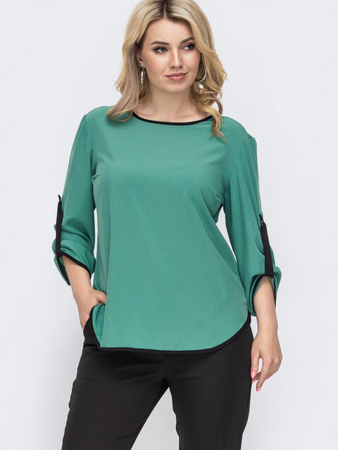 Зеленая блузка батал из софта со шлевками на рукавах 49957, фото 1