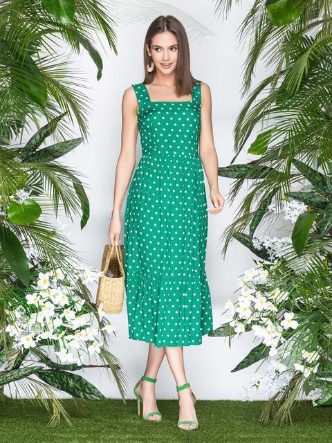 Зеленый сарафан в горох с юбкой-полусолнце - 22337, фото 1 – интернет-магазин Dressa