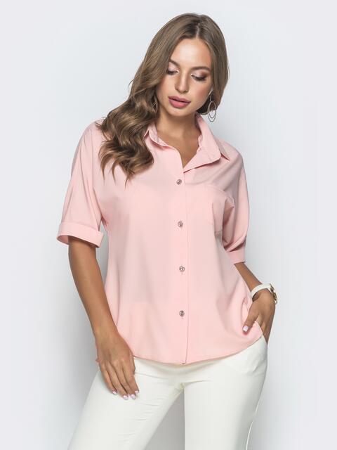 Блузка с удлиненной спинкой и разрезами розовая 39887, фото 1