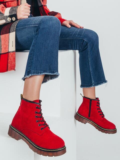 Демисезонные ботинки из нубука красные 50463, фото 1