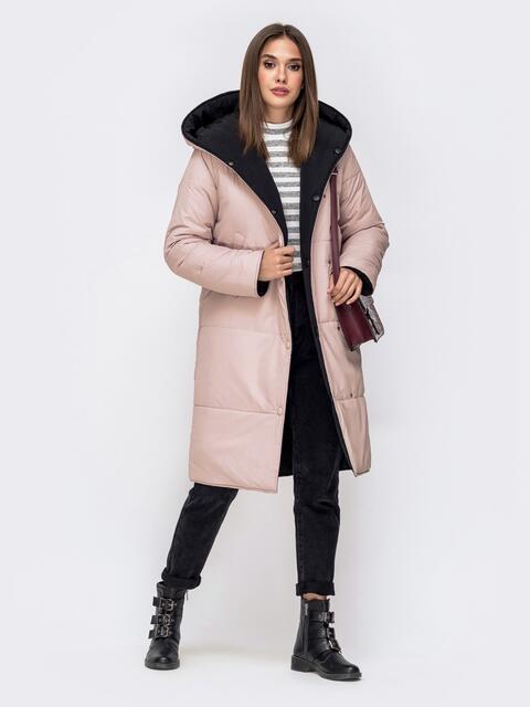 Двухсторонняя куртка пудрового цвета с объемным капюшоном - 42644, фото 1 – интернет-магазин Dressa
