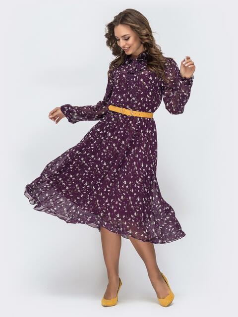 Фиолетовое платье с принтом и воротником-аскот - 45082, фото 1 – интернет-магазин Dressa