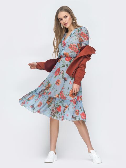 Голубое платье с цветочным принтом и оборкой по низу 45461, фото 1