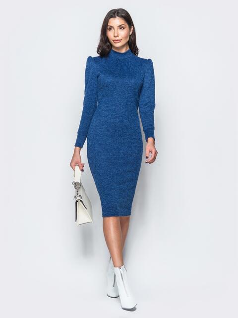 """Меланжевое платье синего цвета из трикотажа """"ангора"""" - 17556, фото 1 – интернет-магазин Dressa"""