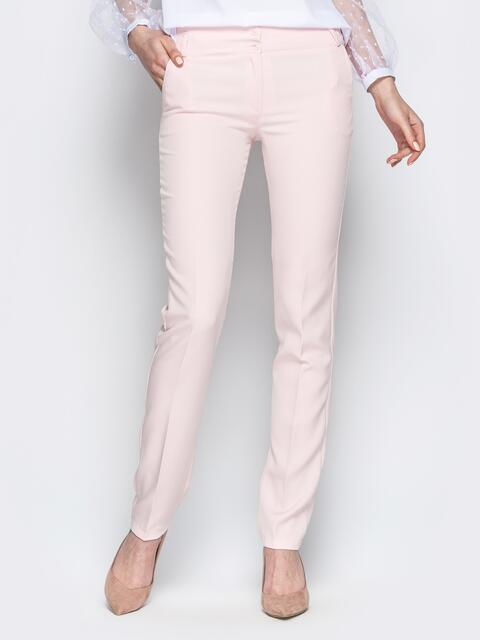 Пудровые брюки прямого кроя со шлевками - 21214, фото 1 – интернет-магазин Dressa