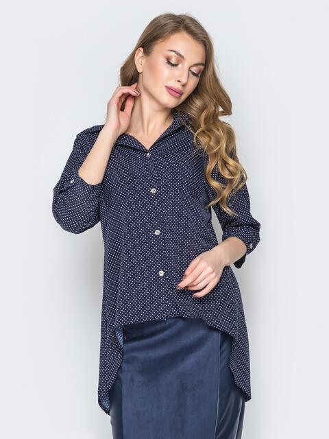 Синяя блузка в горох с накладными карманами 19297, фото 1