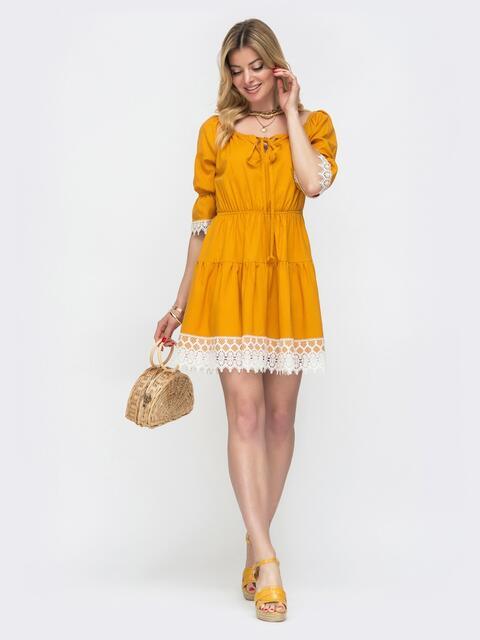 Желтое платье-мини с открытой линией плеч 48133, фото 1