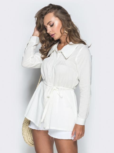Белая рубашка с резинкой на кокетке - 38407, фото 1 – интернет-магазин Dressa