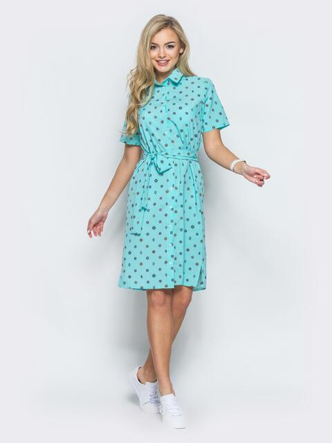 Бирюзовое платье-рубашка прямого кроя из крепдешина - 12570, фото 2 – интернет-магазин Dressa