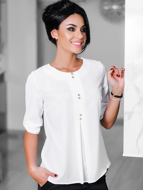 Блузка с декоративными пуговками на полочке белая - 10061, фото 1 – интернет-магазин Dressa