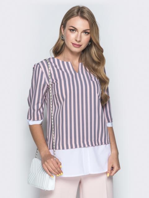 Блузка в розовую полоску с контрастными вставками - 38529, фото 1 – интернет-магазин Dressa