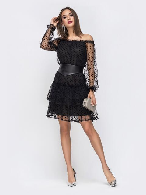 Чёрное платье с открытыми плечами и многоярусной юбкой - 43036, фото 1 – интернет-магазин Dressa