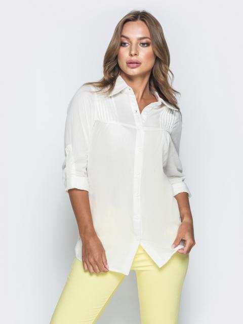 Хлопковая рубашка со шлевками на рукавах белая - 38405, фото 1 – интернет-магазин Dressa