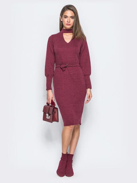 Платье бордового цвета с чокером - 17359, фото 1 – интернет-магазин Dressa