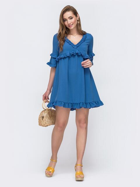 Синее расклешенное платье с рюшами на лифе и рукавах 48480, фото 1