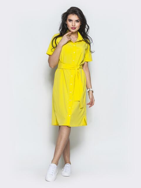 Желтое платье-рубашка прямого кроя из крепдешина - 12568, фото 2 – интернет-магазин Dressa