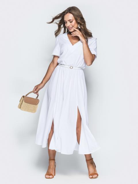 Белое платье с резинкой по талии и разрезами - 38929, фото 1 – интернет-магазин Dressa
