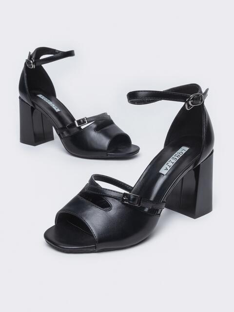 Чёрные босоножки из искусственной кожи на каблуке 45991, фото 1