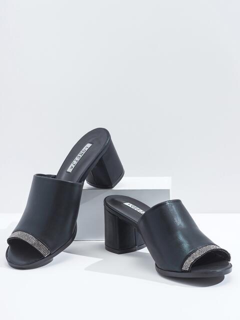 Чёрные босонжки-сабо из искусственной кожи - 45994, фото 1 – интернет-магазин Dressa