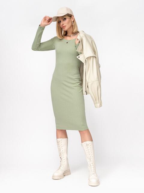 Обтягивающее платье-миди с круглым вырезом зеленое 53013, фото 1