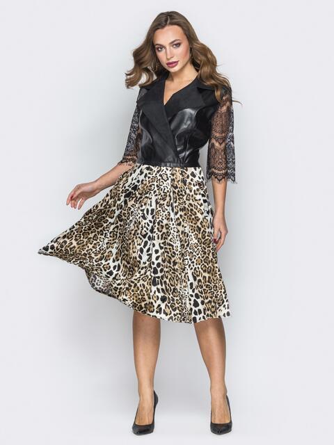Платье с верхом из эко-кожи и леопардовой юбки - 19749, фото 1 – интернет-магазин Dressa