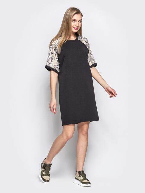 Прямое платье с бежевыми принтованными рукавами-реглан - 21632, фото 1 – интернет-магазин Dressa