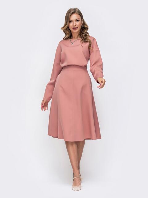 Пудровый комплект из блузки и расклешённой юбки на молнии 50465, фото 1