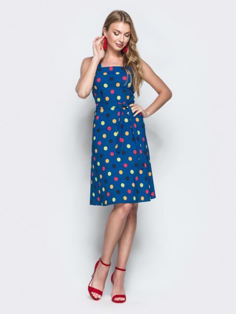 Синее платье из хлопка в горох с вырезом каре 38637, фото 1
