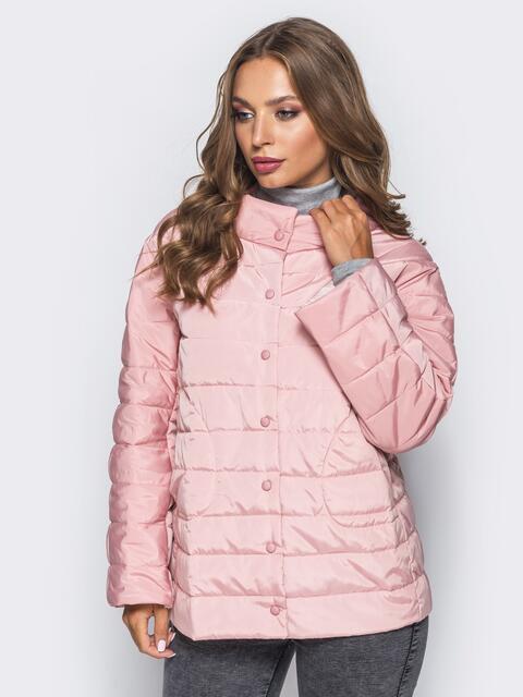 2c37044e472 Стеганая куртка с застежкой на кнопках розовая - 15752