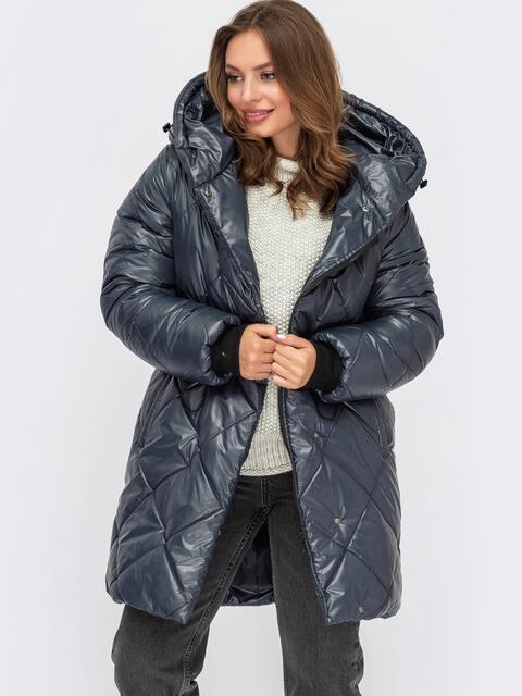 Стеганная куртка с капюшоном и карманами 55581, фото 1
