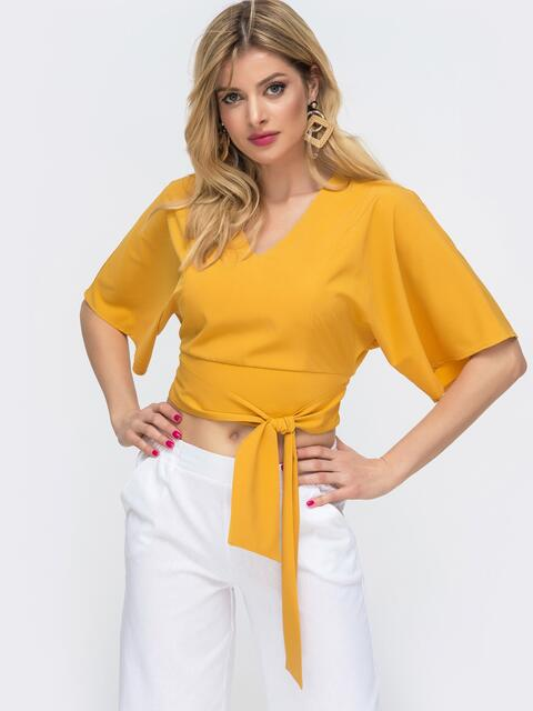 Укороченная блузка с резинкой по спинке желтая - 46890, фото 1 – интернет-магазин Dressa